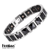 Moda Black Ceramic Bracelets Silver & Black Bangle