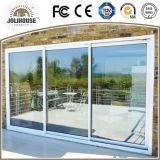 Puerta deslizante de la fábrica de la fábrica de China del precio de la fibra de vidrio UPVC del marco plástico barato barato del perfil con los interiores de la parrilla
