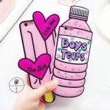 Caso da tampa do silicone do desenhador do frasco da bebida da caixa do telefone de pilha para o iPhone 7 6 mais 4.7 5.5