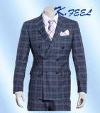 Doppio Breasted all'ingrosso che misura il vestito a due pezzi del plaid blu