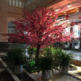 정원 인공적인 복숭아 꽃송이 나무