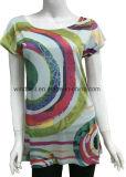 デジタルプリントを持つ女性のためのポリエステル多彩なTシャツ