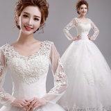 La pleine chemise lacent vers le haut la robe de mariage arrière de robe de bille avec la proue