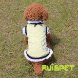 O verão do cão da camisa das meninas T do laço do algodão veste o fato do animal de estimação