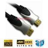 Cable plateado oro de HDMI con la trenza de nylon 1.4V