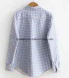 Camisa de tela escocesa tricolor del `S de las mujeres