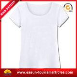 T-shirt 100% rond blanc de collet de coton de coutume avec le prix de gros