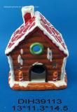 Suporte de vela cerâmico de Tealight da casa do Natal