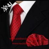 Gravatas tecidas do Mens da venda por atacado 100% jacquard de seda com lenço