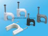 소성 물질 및 편평한 못 클립 유형 플라스틱 벽 케이블 클립