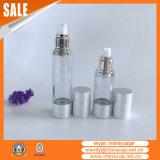 botella cosmética de los sueros de la bomba privada de aire de plata mate de 15ml 30ml 50ml 100ml