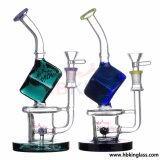 Nouveau design artistique Colorful Flower Double Surround Tube Recycler Glass Water Pipe
