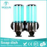 erogatore trasparente del sapone di Plasric dell'ABS personalizzato colore 500ml doppio, erogatore manuale fissato al muro del sapone liquido