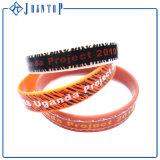 Bracelete feito sob encomenda barato redondo colorido da faixa de borracha do silicone com logotipo da impressão