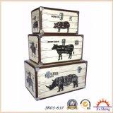 農場のAnmialsパターン記憶のトランクの木のギフト用の箱が付いている旧式で白いネスティングPUプリント