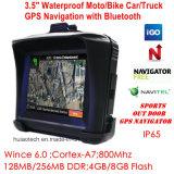 """IP65は、FMの送信機ハンズフリー、Bluetooth 3.5 """"屋外スポーツの処置GPSの操縦士のためのTFTスクリーンのオートバイのバイク車GPSの運行を防水する"""