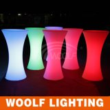 Tabella di cocktail superiore illuminata alta di plastica d'ardore del LED