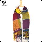 Grande scialle multicolore acrilico d'avanguardia della sciarpa del plaid con le frange