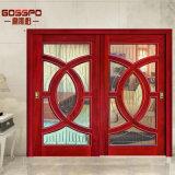 Modèle en bois de porte coulissante en verre Tempered (GSP3-015)