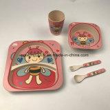 Großes Bambusfaser-Baby-führendes Tafelgeschirr des Marken-Kind-Essgeschirr-5PCS gesetzte Eco Platte eingestellt für Kinder