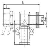 Té pneumatique de passage d'ajustage de précision d'air pour le boyau de PU&PA (type métrique d'amorçage de Taille-r (pinte))