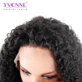 Yvonne 180% 조밀도 흑인 여성 브라질 Virgin 머리 자연적인 색깔을%s Malaysian 꼬부라진 레이스 정면 사람의 모발 가발