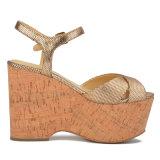 (Donna-в) сандалии платформы пробочки женщин овчины картины решетки способа высокие
