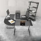 Mesa de Computador de Estudo em Casa de L-Shape de Vidro