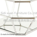 Diamant Square Coffee Table Clear Tempered Glass Side Table Chrome im Edelstahl Frame für Modern Wohnzimmer
