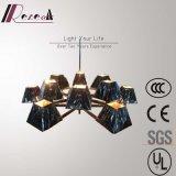 Lámpara pendiente del hierro de la cortina del negro del precio de fábrica para el hotel