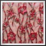 テュル3Dの刺繍のレースの網の刺繍のレースの花3Dの刺繍のレース