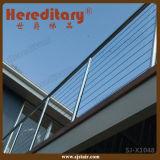 Pasamano moderno del cable del acero inoxidable del diseño de la parrilla para el balcón superior (SJ-X1048)