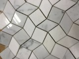 Blanco cristalino y azulejo de mosaico blanco del mármol del diseño de la onda 3D de Bianco Carrara