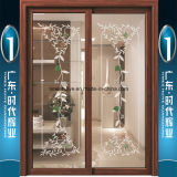 Champagne Aluminium Interior Hanging Door mit Doppeltem-Layer Glasses