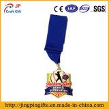 2017wholesale a alta qualidade metal 2D e do logotipo 3D ostenta a medalha da gravura da medalha com fita colorida