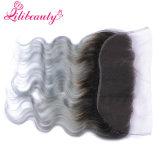 Объемная волна Frontal шнурка волос 13X4 1b/Grey девственницы