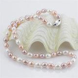 insieme d'acqua dolce reale coltivato naturale d'argento dei monili della perla dell'acqua dolce del grado 925 di 7-8mm AAA