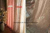 Tela de Upholstery branca das cortinas de indicador do algodão do creme completo da cor-de-rosa do laço