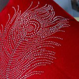 Diamante que plancha el amortiguador/la almohadilla decorativos con el modelo de la pluma (MX-028)