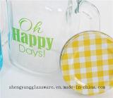 Taza de cristal de la bebida de la venta caliente/taza de cristal con la tapa del metal