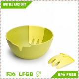 De ronde Kom van de Salade met de Plastic Dienende safe/BPA-Vrije Melamine van het Ontwerp van de Vork Compacte en Vrije Afwasmachine BPA