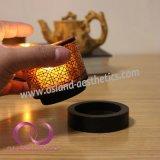 De bruine Chinese Kop van de Kaars van de Houder van de Kaars van het Glas van het Patroon met Houten Basis 1PC/Set