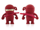 Ist Großhandelssilikon-Karikatur Ninja USB-Karikatur abgedeckte Männer USB-Blitz-Laufwerk-kreative Funktionseigenschaft wasserdichte u-Platte sofort