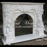 Cheminée blanche Mfp-353 de Carrare de cheminée de cheminée en pierre de cheminée de marbre de granit