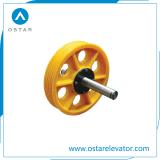 Piezas del elevador, nilón/polea acanalada de la desviación del elevador del arrabio, polea acanalada de la tracción (OS13)