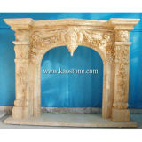 Kamin Mantel, Natural Stone Yellow Marble Fireplace für Indoor u. Outdoor