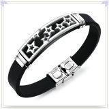 ステンレス鋼の宝石類の革ブレスレットのシリコーンのブレスレット(LB584)