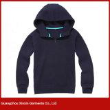 Encargo de diseño de moda de la cremallera hasta sudaderas con capucha de algodón para hombres de Deportes (T08)