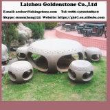 Jardim Paisagem Rochas e Jardim Pátio Basalto Mesa de Pedra e conjunto de móveis de bancada
