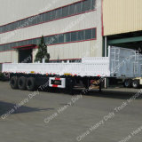 3axle pared lateral de superficie plana vehículo especial de transporte Semi-remolque
